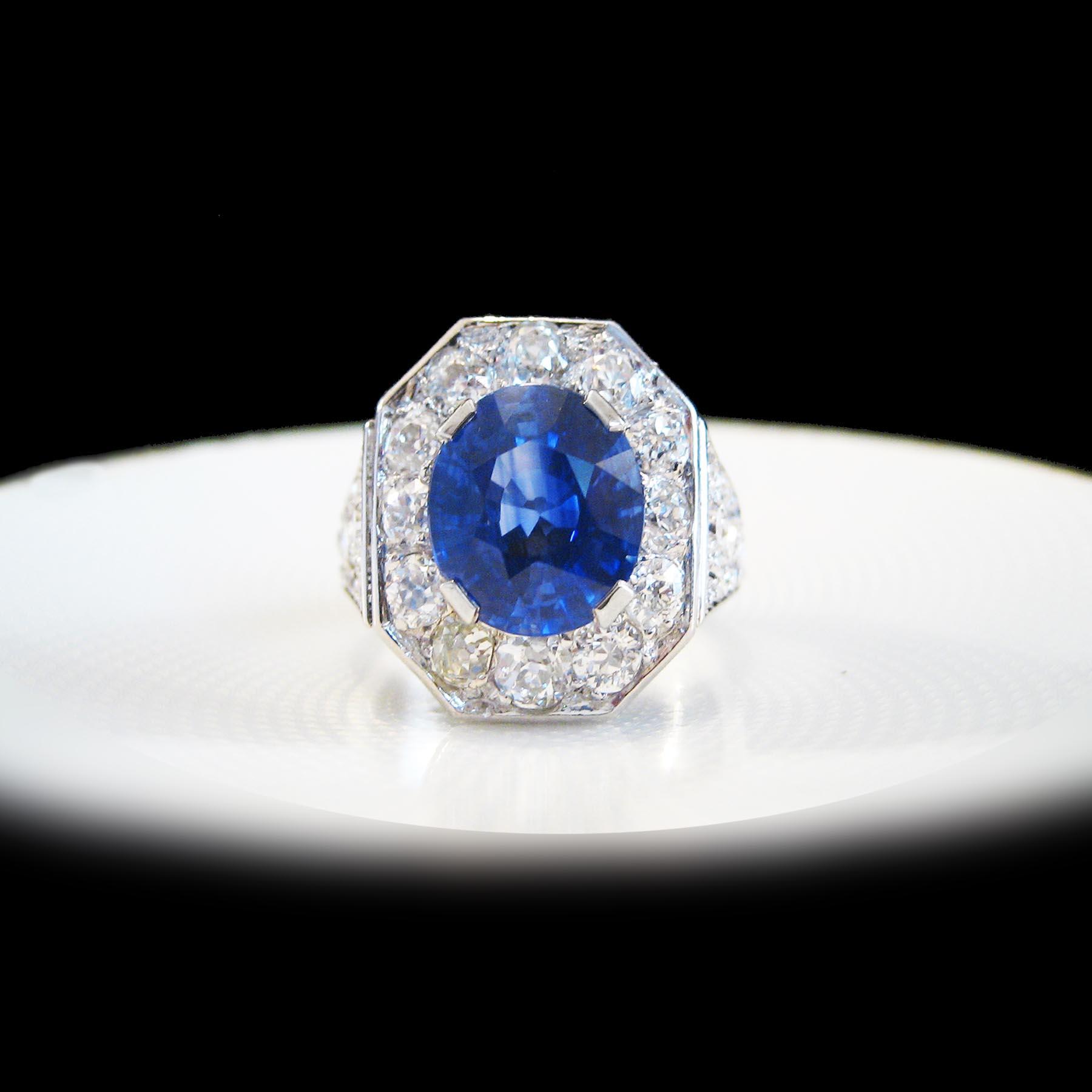 カルティエのサファイアとダイヤモンドのアンティークリングジュエリー