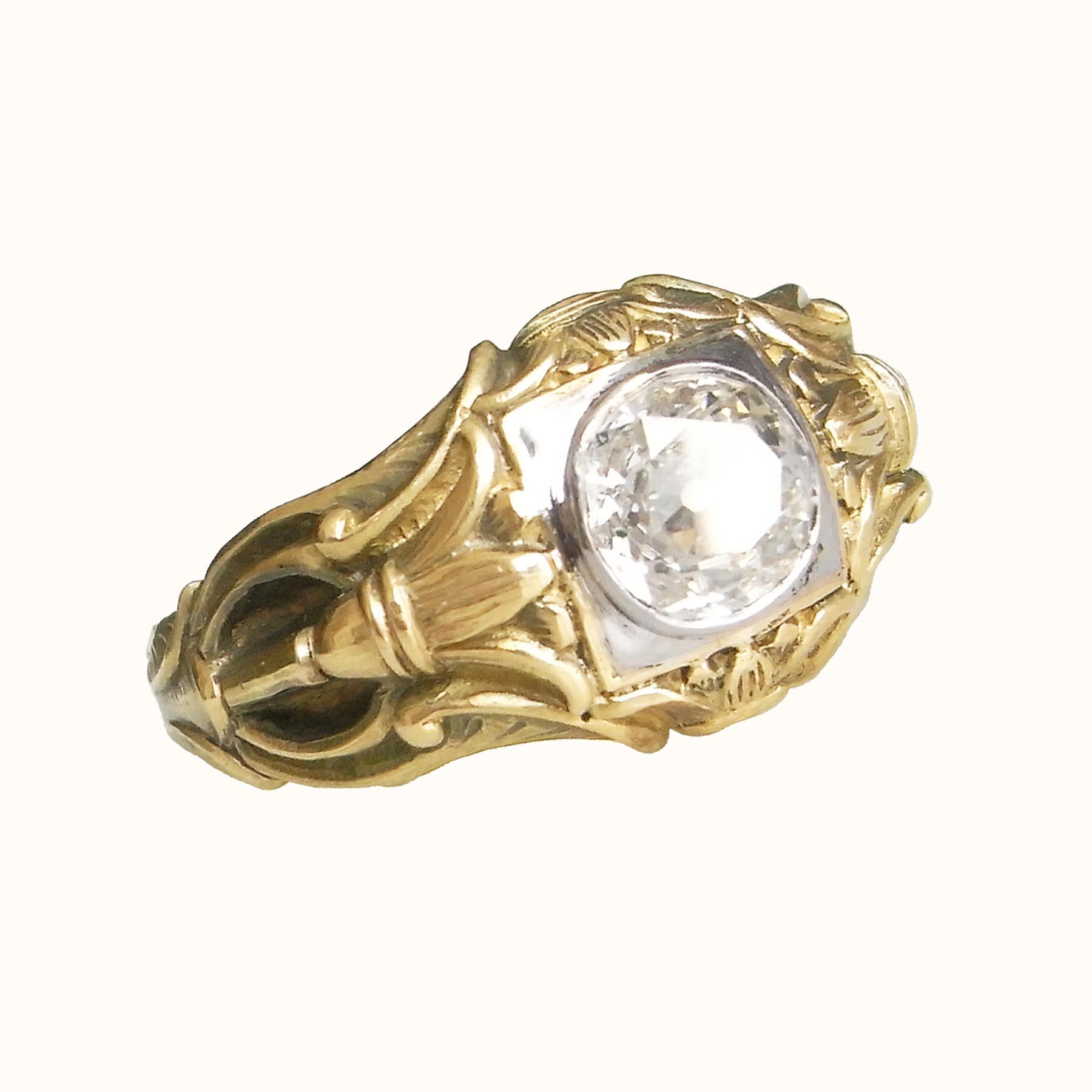 フランスの18金製アンティークジュエリーのダイヤモンド指輪