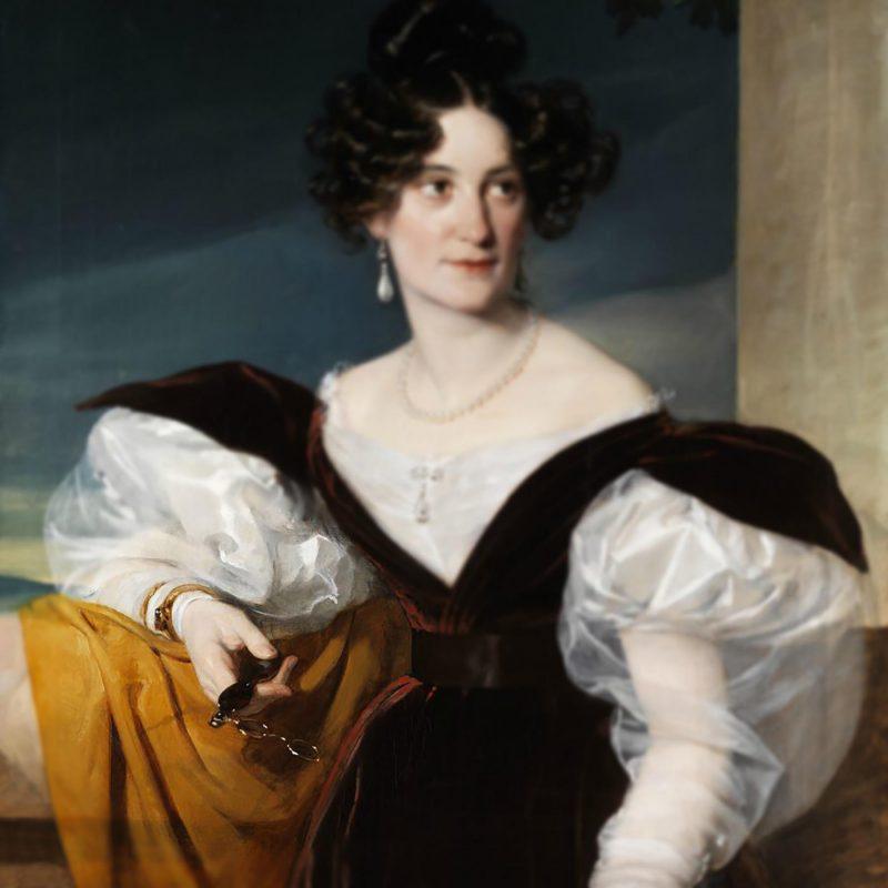 アンティークのロニエットを持つ19世紀の貴婦人