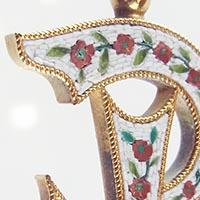 薔薇のモザイクアンティークペンダント