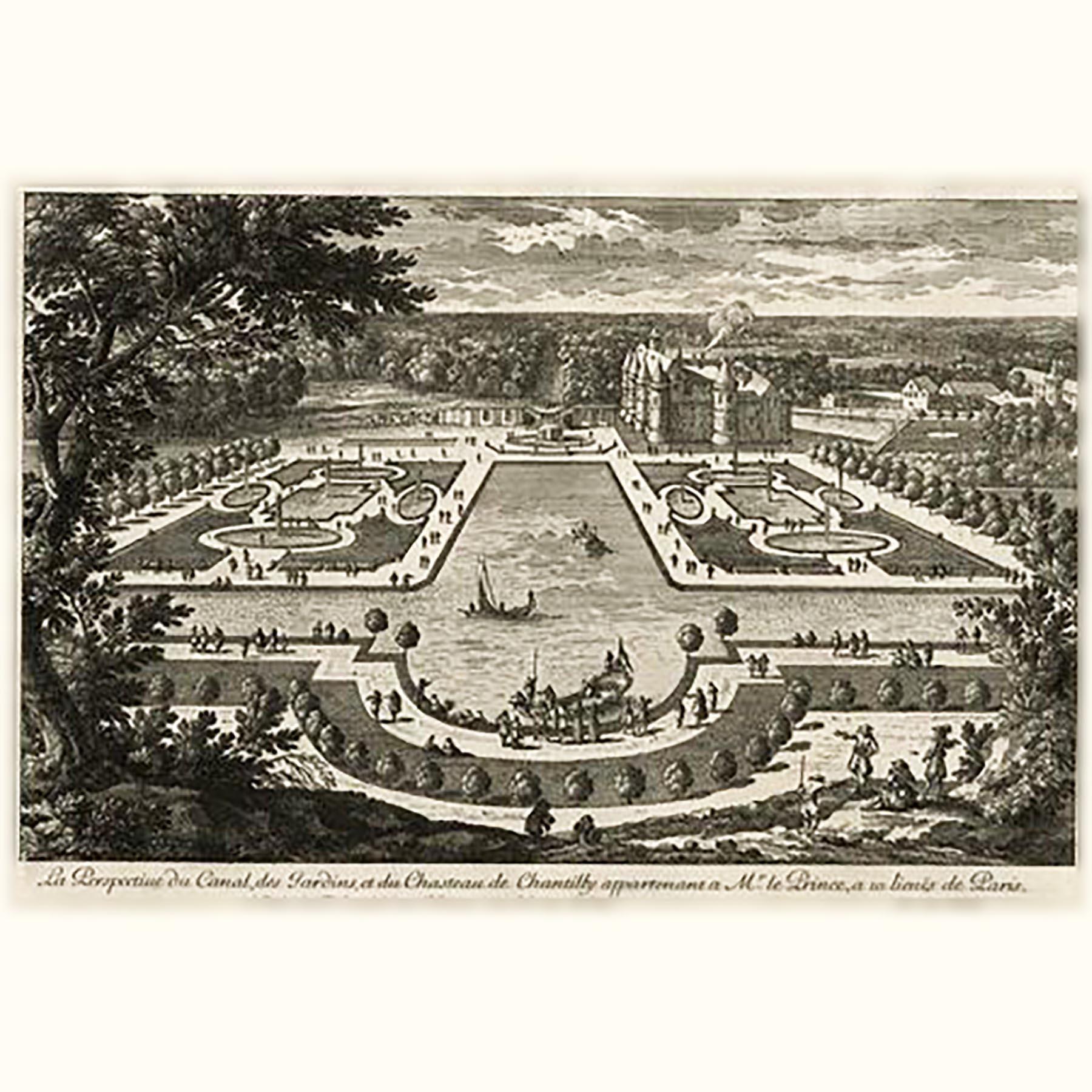 シャンティー城の庭園設計図 17世紀 アンティークの銅版画
