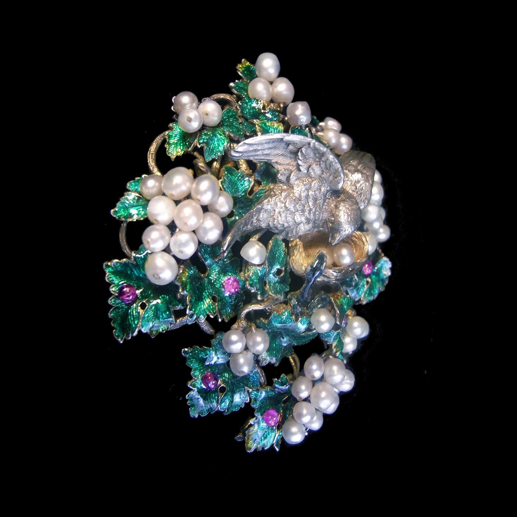 ルビー 天然真珠 19世紀フランスのアンティークブローチ