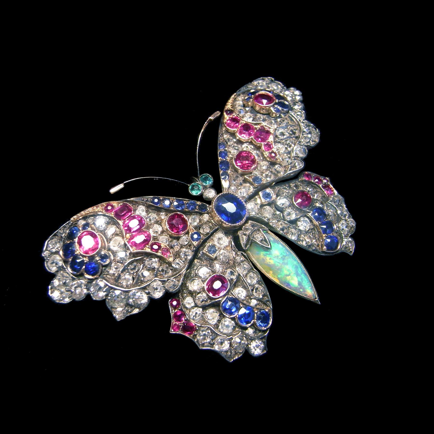 蝶のブローチ ダイヤモンド アンティーク