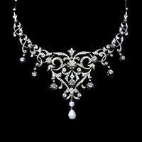 ガーランド様式ダイヤモンドアンティークネックレス