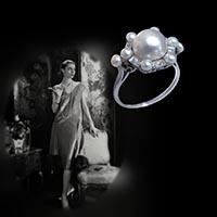 天然真珠のアンティークリング