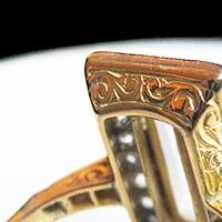 N°0239 フロステッドクリスタルの指輪/アンティークジュエリー