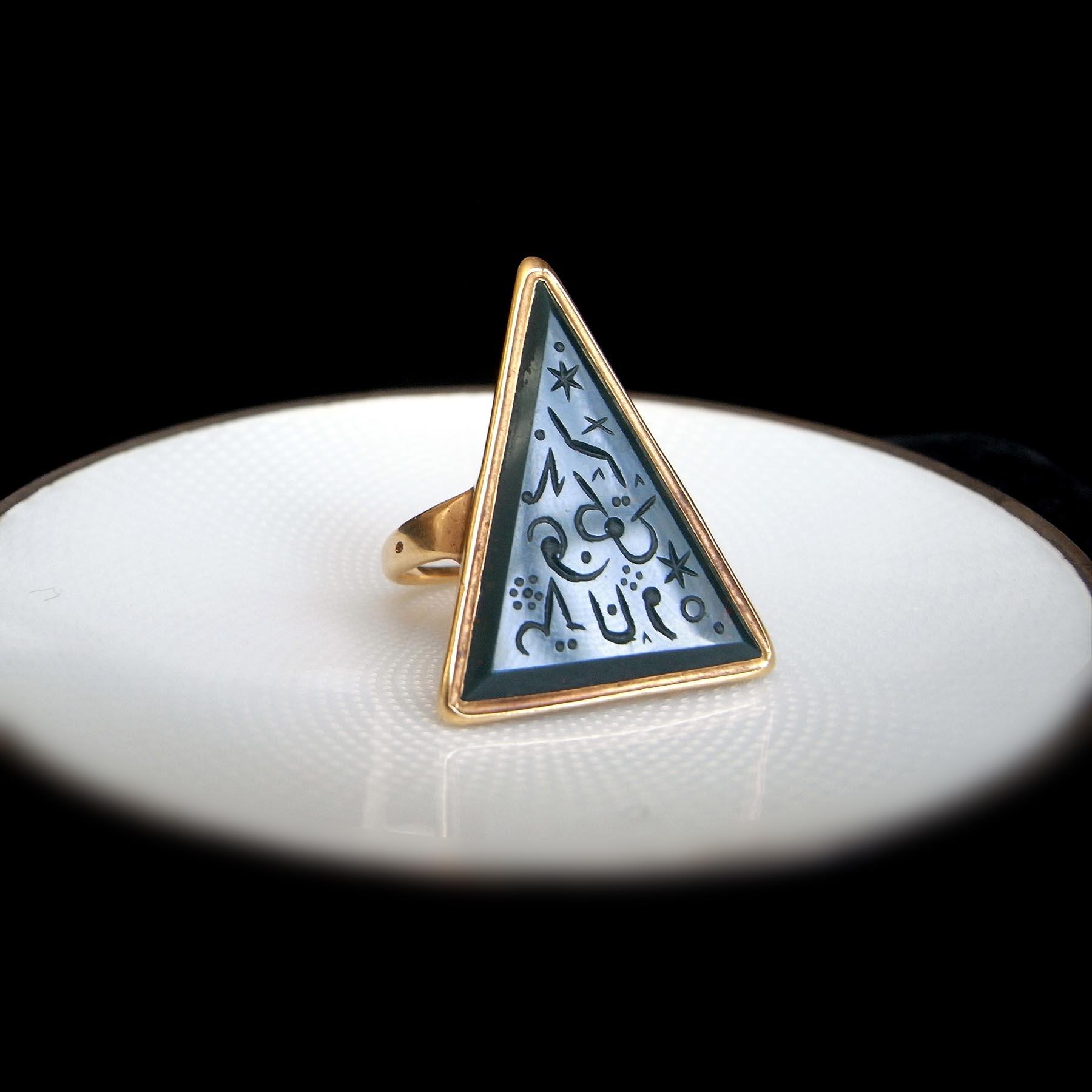 ブラッドジャスパー 魔法のインタリオ アンティークジュエリー 18世紀 フランス 指輪