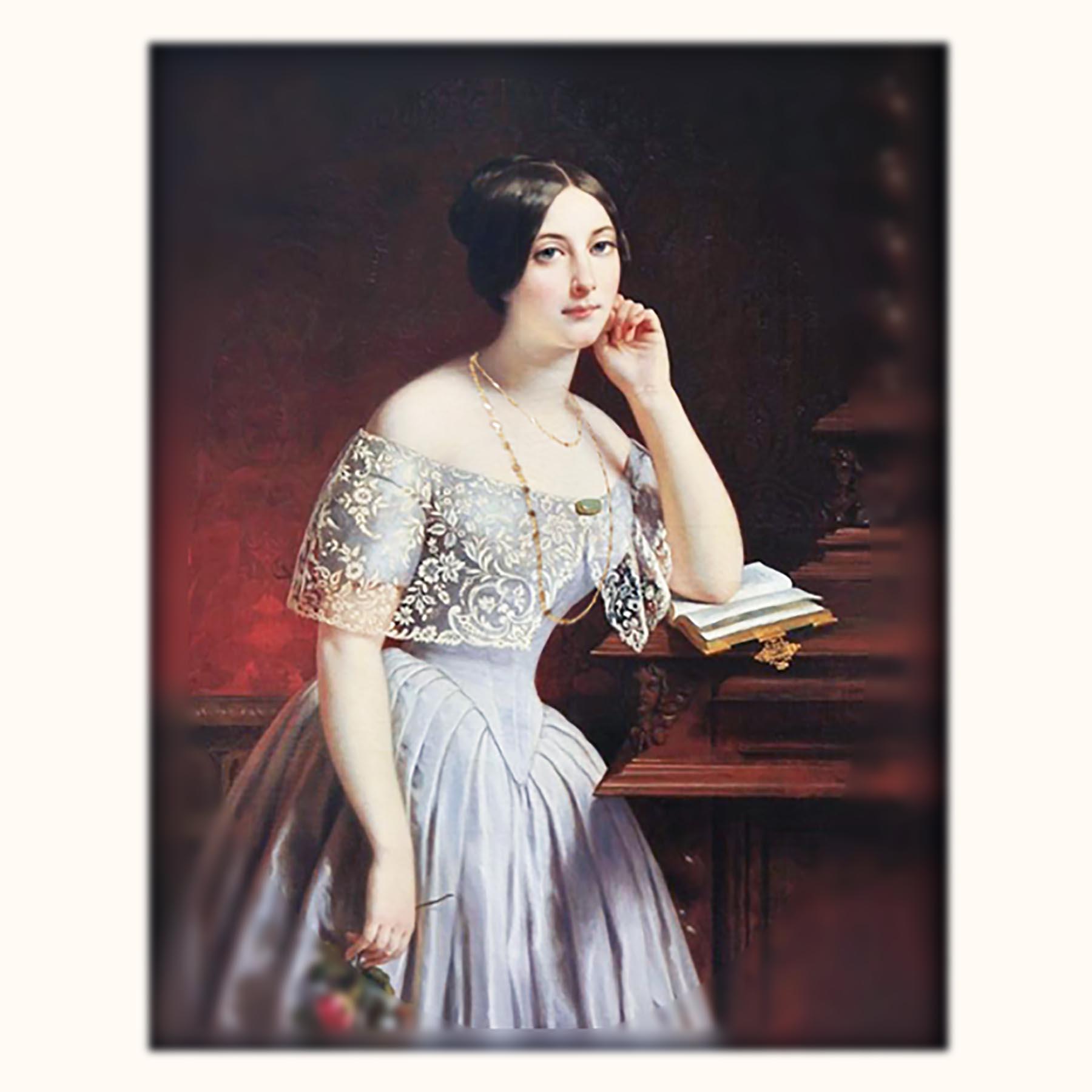 19世紀フランスアンティークジュエリーのロングネックレスをつける貴婦人像