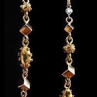 古代様式のソートワール ダイヤモンド 天然真珠 フィリグリー細工 アンティークネックレス