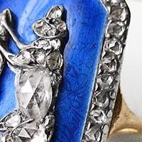 N°0477 18世紀 ロイヤルブルーエマイユ ダイヤモンドの犬 アンティークリング