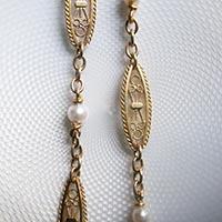 フィリグリー 天然真珠 18金製ロングネックレス アンティークジュエリー