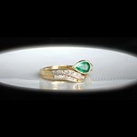 エメラルド ダイヤモンド 1950〜60年代フランスジュエリーリング