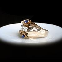 サファイア ダイヤモンド 指輪 1930年代フランスアンティークジュエリー