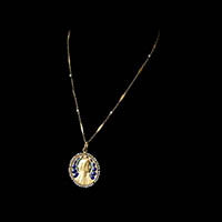 聖母マリア メダイユ 18金彫金プリカジュール アンティークペンダント
