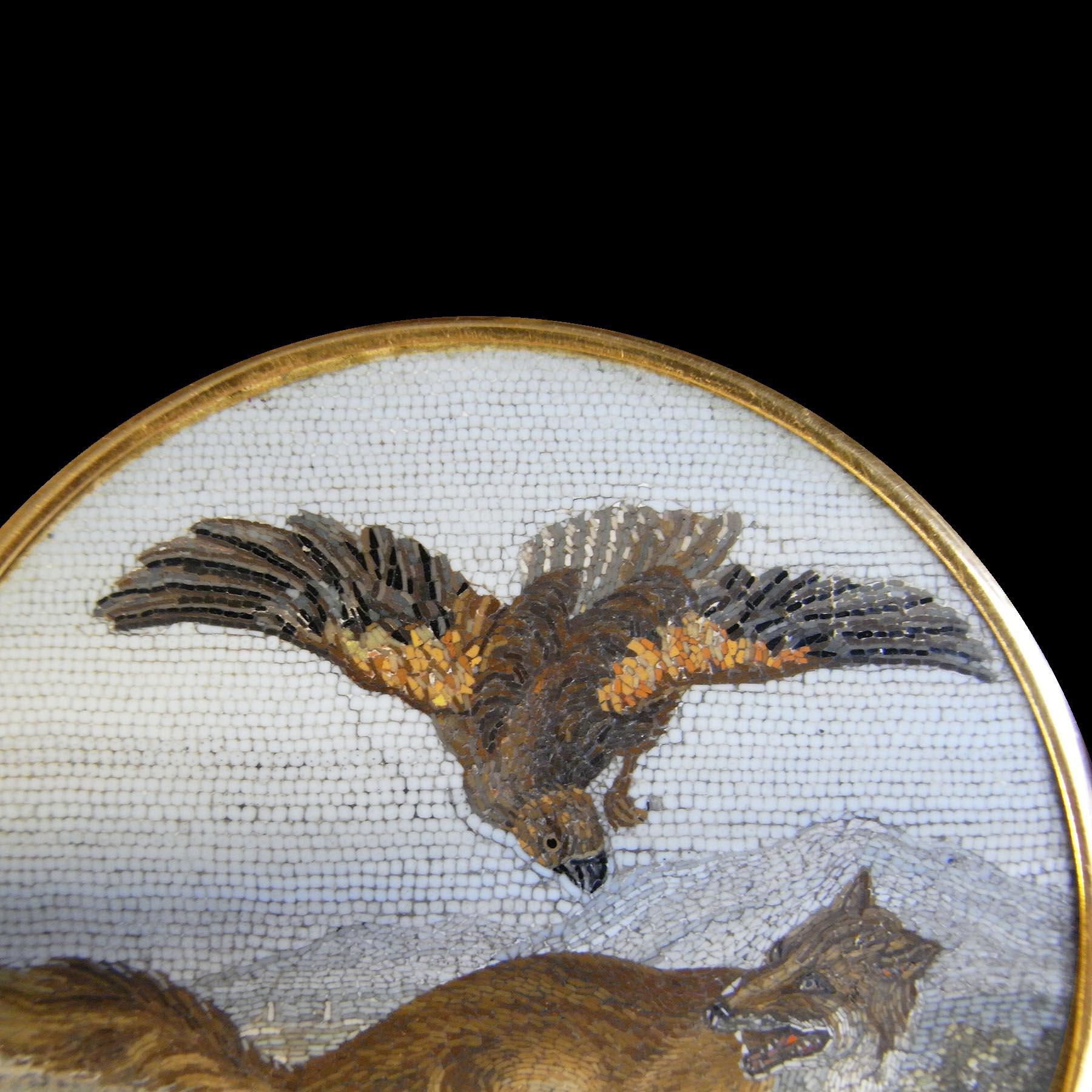 鷲と狐 18金製フレーム付ナポレオン帝政期アンティークローマンモザイク