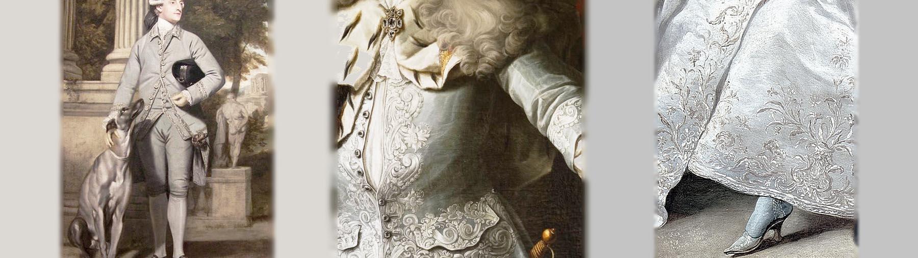フランス貴族のグレイの装い 犬を連れた男性 宮廷貴族の刺繍の上着 貴婦人のグレイと白の刺繍入りドレスと揃いの靴