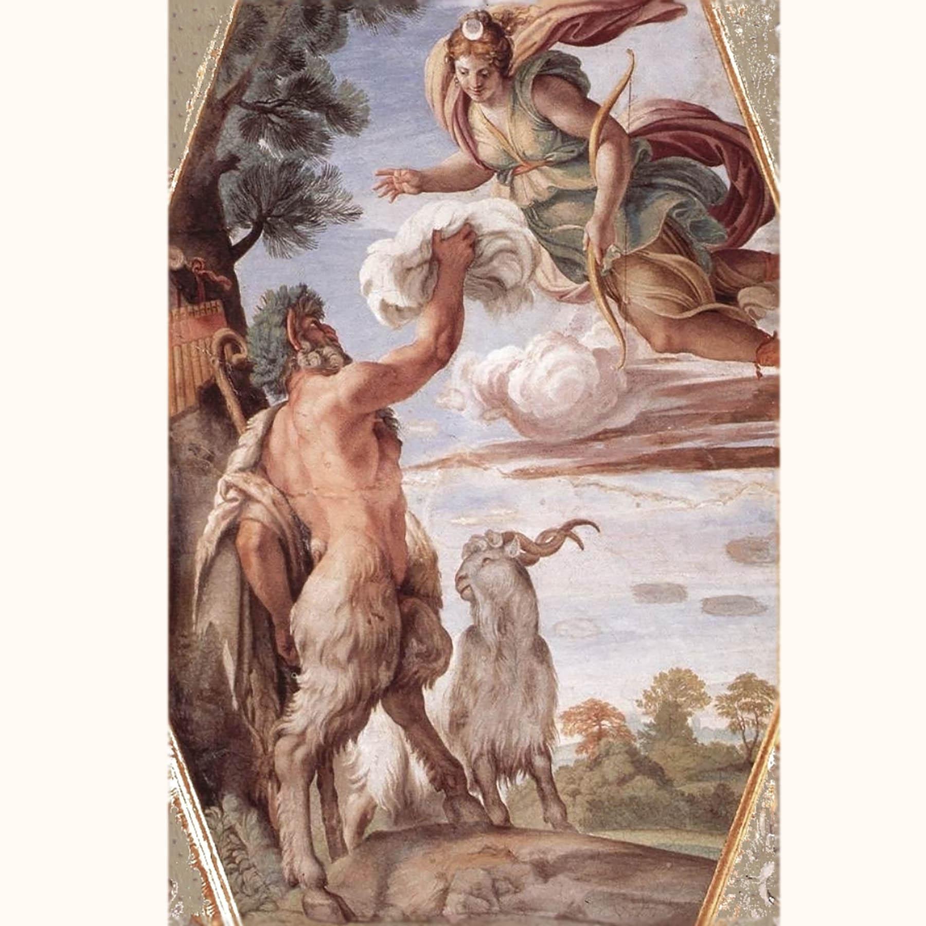 ダイアナ女神とパーン神 カラーシュ画 1597-1604年頃 ファルネーゼ宮 ローマ アンティークジュエリー