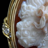 ジロメッティ作 花の女神フローラ像 アンティークカメオブローチ