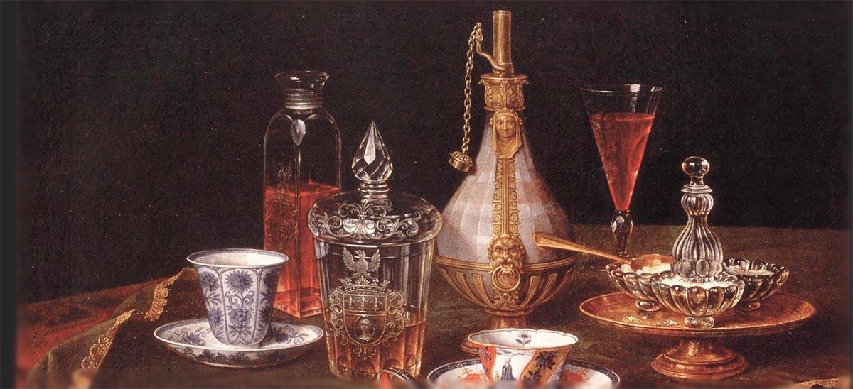 ワインのある静物画 クリスチャン・ベレンツ画 1658-1722年 アンティーククリスタルガラス 銀器 陶磁器 17世紀 ヨーロッパ