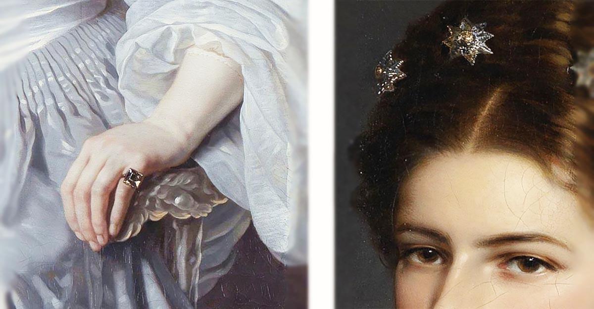 古いカットのダイヤモンド指輪 19世紀 / ダイヤモンドの髪飾り オーストリア皇妃エリザベートの肖像部分 ウィンターハルター画 1865年 ウィーン ホーフブルク王宮蔵ダイヤモンド アンティークジュエリー カット シェイプ ヒストリー